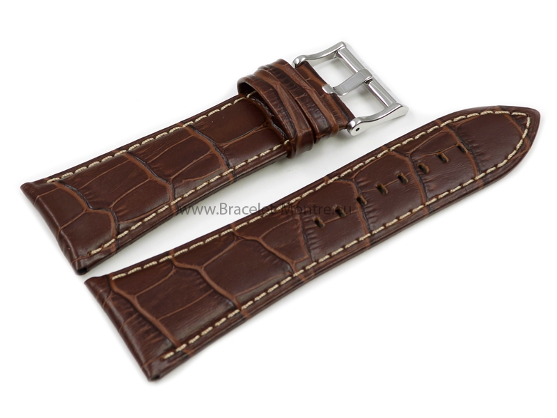 Bracelet de montre Lotus p.15698,cuir,marron, grain croco, couture