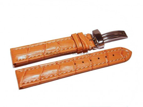 Bracelet de montre - cuir de veau - grain croco - orange