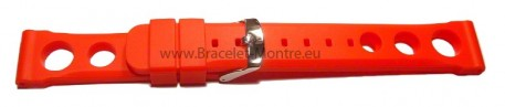 Bracelet de montre - silicone perforé - rouge 24mm
