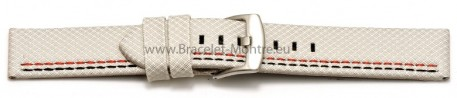 Bracelet-montre - ardillon large - high-tech - aspect textile - blanc - couture rouge et noire