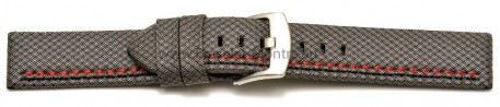 Bracelet-montre - ardillon large - high-tech - aspect textile - gris - couture rouge et noire