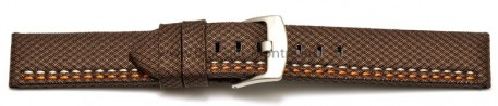 Bracelet-montre - ardillon large - high-tech - aspect textile - marron - couture orange et blanche 22mm