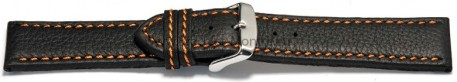 Bracelet montre - noir - cuir - surpique orange - 18,20,22,24 mm