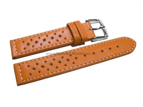Bracelet de montre - cuir de veau perforé - surpiqué - orange
