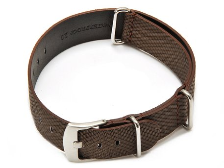 Bracelet-montre - NATO - matériau high-tech - aspect textile - marron