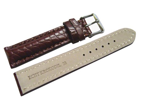Bracelet de montre en alligator - rembourrage épais - marron foncé